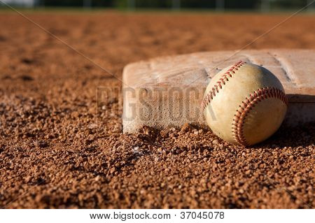 Baseball near First Base with room for copy