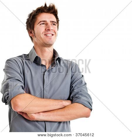 Young man planning his future isolated on white