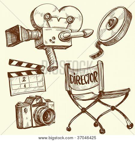 Set vintage de cine y fotografía