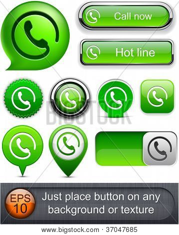 Call green web buttons for website or app. Vector eps10.