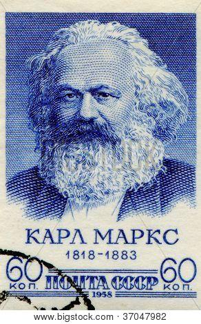 SOVIET UNION - CIRCA 1958: Postage stamp printed in Soviet Union of Karl Marx, circa 1958