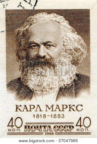 SOVIET UNION - CIRCA 1958: Postage stamp printed in Soviet Union  of Karl Marx , circa 1958