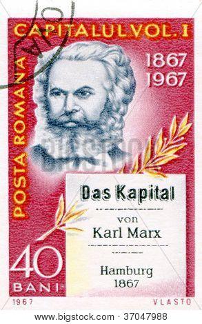 ROMANIA - CIRCA 1967: Postage stamp printed in Germany  of Karl Marx, circa 1967