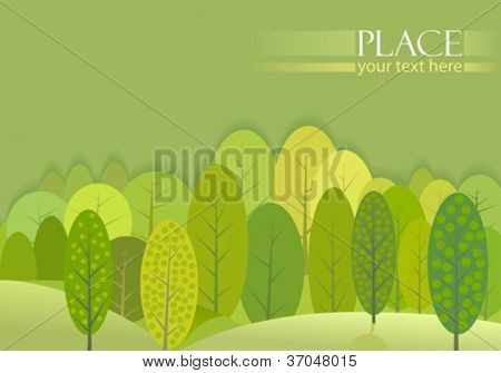 Abstract Green Trees Forest Background