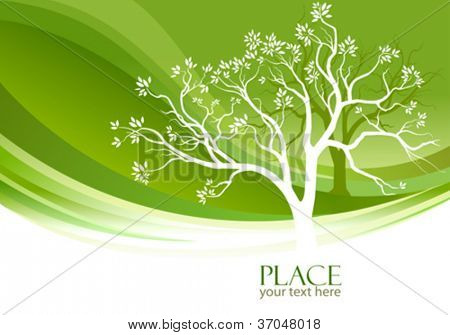 Abstract tree and olive-green background
