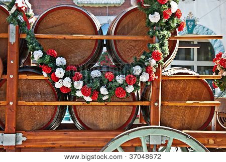 Barrels Or Kegs Of Beer In Cart