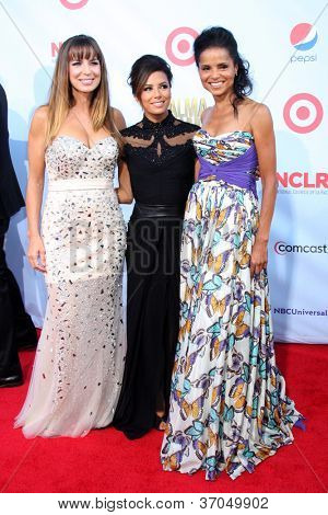 LOS ANGELES - SEP 16:  Sandra Vidal, Eva Longoia, Victoria Rowell arrives at the 2012 ALMA Awards at Pasadena Civic Auditorium on September 16, 2012 in Pasadena, CA