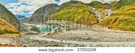 Fox glacier and river in New Zealand
