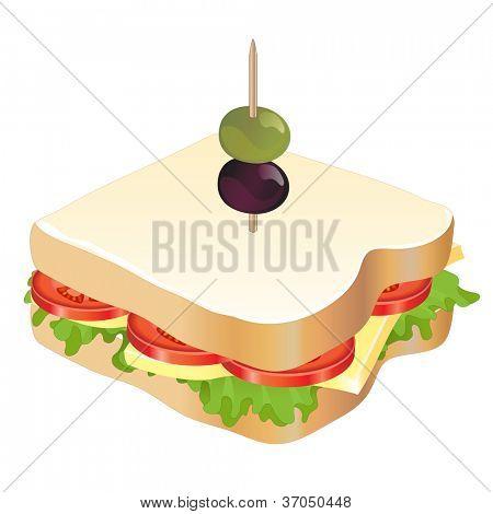 Ein Käse und Tomaten-Sandwich, isolated on white Background. EPS10-Vektor-Format.