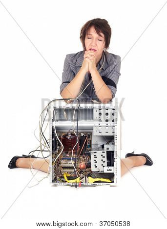 confuse woman praying for the computer start working again