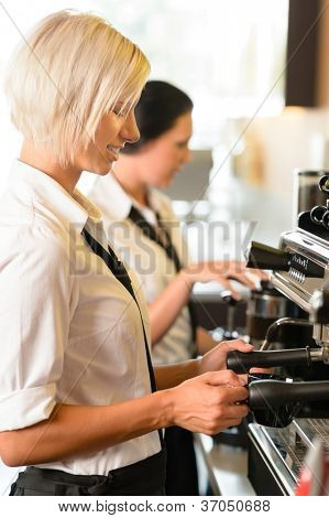 Waitresses at work make coffee machine cafe smiling woman espresso