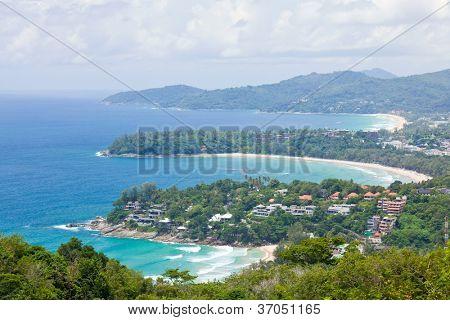 Aerial view landscape of Bay and tropical beach,kata karon and  katanoi, in Phuket Thailand