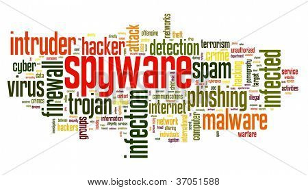 Spyware concept in word tag cloud on white background