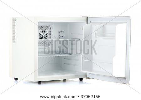 Open an empty mini fridge isolated on white