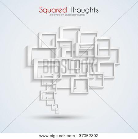 Fundo abstrato cartão de visita com uma bolha do discurso conceitual feita de quadrados tridimensionais