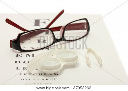 glasses, contact lenses in containers and tweezers, on snellen eye chart background