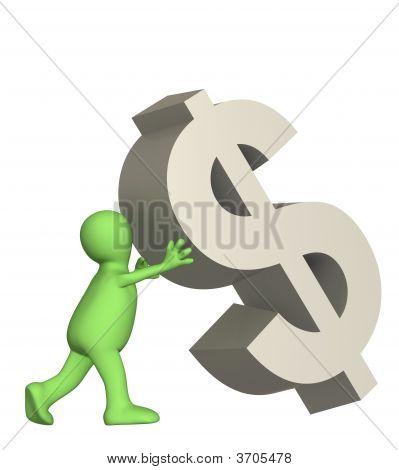 Boneco 3D, suportando o símbolo de queda do dólar