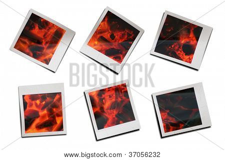 Instantaneous photos of firewood burning
