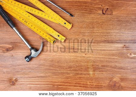 Instruments on wooden background