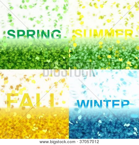 A four seasons image with a text effect series.