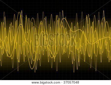 Amber sound waves on dark background