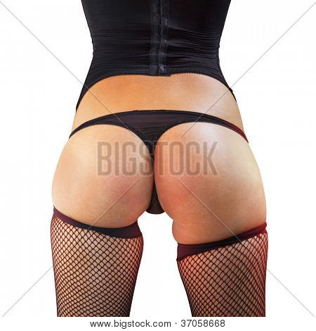 closeup of beautiful woman buttocks with path