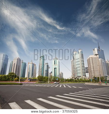 cityscape of modern city,shanghai with blue sky