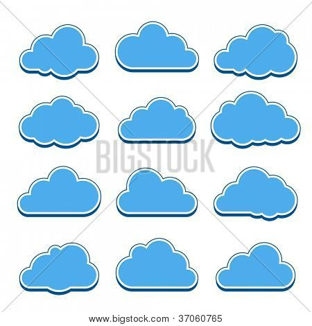 Blue clouds. Collection of cloud icons. Vector illustration