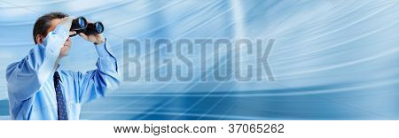 Businessman with binocular. Business blue background.