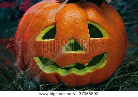 closeup of a Halloween jack-o-lantern in a dismal scenery