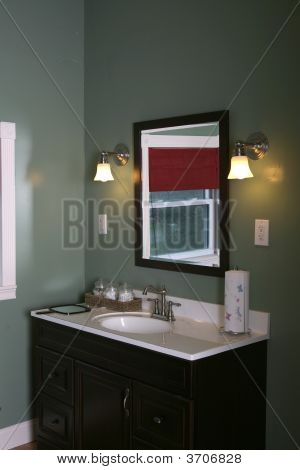 Bathroom Vanity, With Window Reflected In The Mirror
