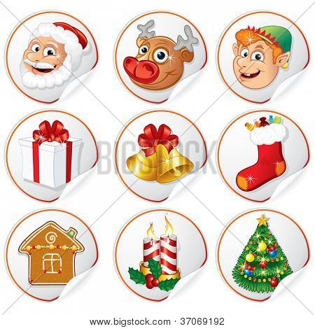 Stickers with Christmas Characters. Santa Clause, Pine Tree, Elf, Gift, Bells etc...