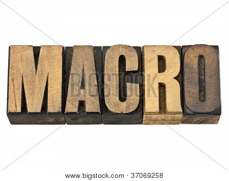 macro word - a very large scale concept - isolated text in vintage letterpress wood type