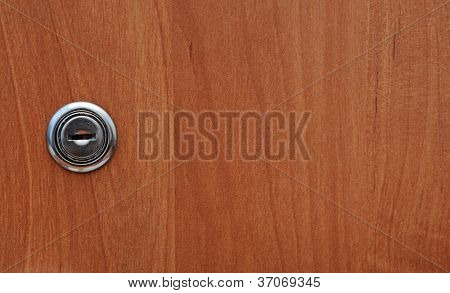 key hole of office wooden cabinet
