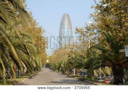 Agbar Tower In Barcelona Spain