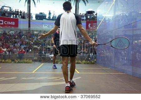DAMANSARA - SEP 15: Tarek Momen appeals the umpire's decision at the men's final of the CIMB Malaysian Open Squash Championships 2012 held in Damansara, Malaysia on September 15, 2012. Momen won.