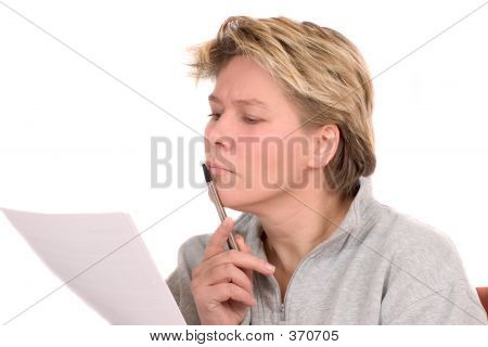 Woman Reading A Legal Document