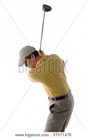 Middle age golfer swinging a golf club isolated on a white background