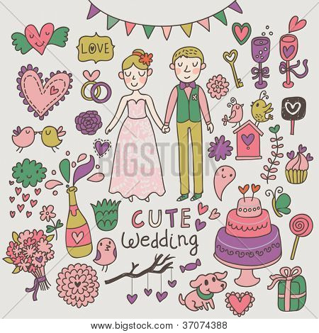 Cute wedding set. Romantic cartoon vector set.