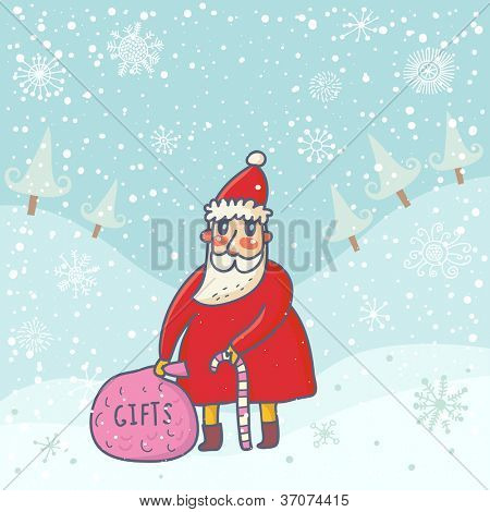 Cute Santa with presents in winter forest. New year cartoon background