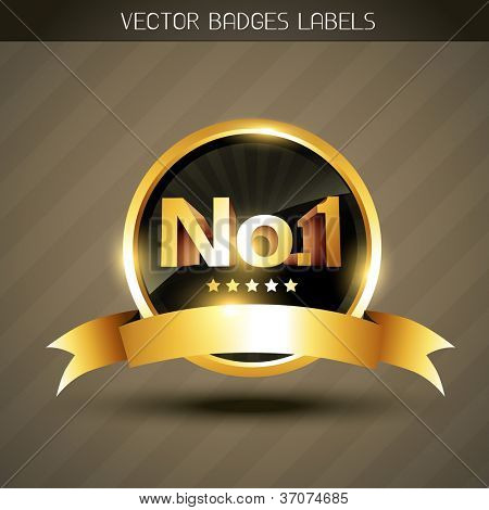 beautiful golden winner no.1 label vector