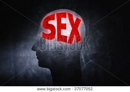 "Word ""Sex"" glowing on a man's head insted of brains."