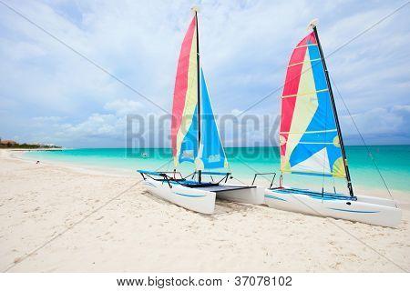 Catamarans at beautiful Caribbean beach
