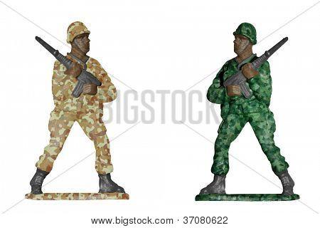 Soldados isolados no branco fundo - deserto e camuflagem de floresta