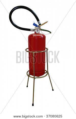 Extinguisher and holder isolated on white background