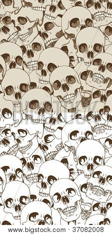 Set of Two Seamless Patterns. Human Skulls Background. Vector Illustration
