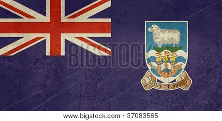 Grunge sovereign state flag of dependent country of Falkland Islands in official colors.