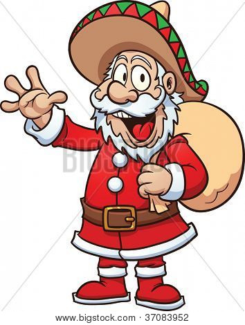 Santa Claus wearing a sombrero. Vector illustration with simple gradients. All in a single layer.
