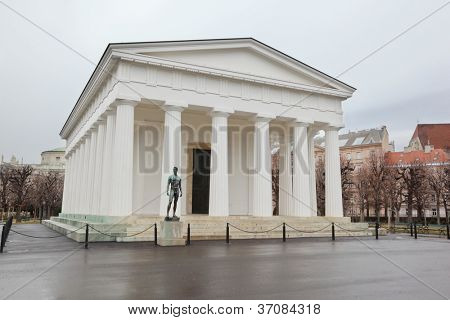 Temple of Hephaestus with statue in Vienna, Austria