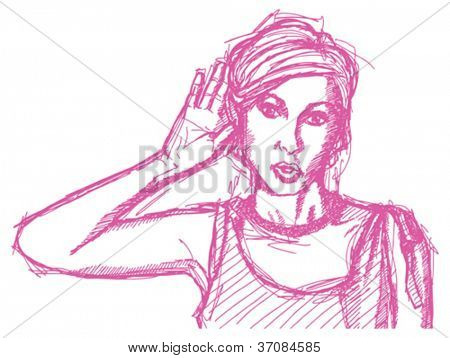 Vector Sketch, comics style female overhearing something with her ear and hand, surprised